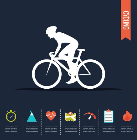 white people: Cyclist on the sports bike.  Bicycle vector infographic Illustration