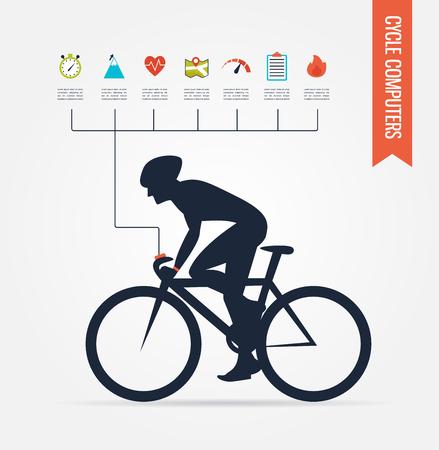 gps ordenadores y aplicaciones para la bicicleta y el ciclismo. infografía