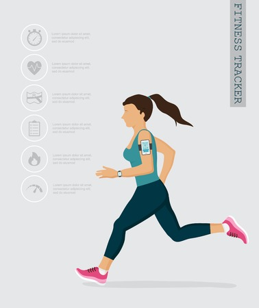 young woman: Vector fitness icons and illustrations in flat style - fitness tracker and running people . infographics design elements Illustration