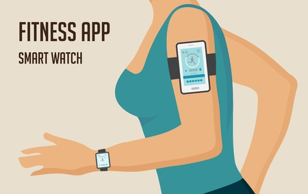 sports app: Running girl with  a smartphone attached to the shoulder. Sports or fitness tracking app for running people. Vector illustration Illustration