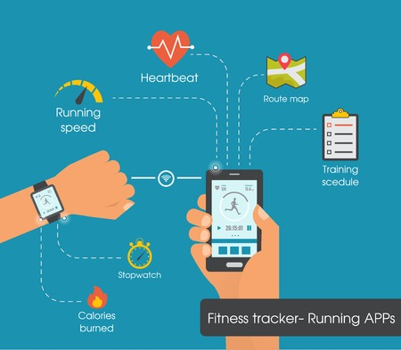 applications: Fitness tracker app  graphic user interface for smartwatch and smartphone.