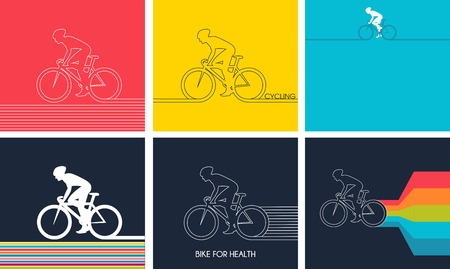 Cyclists on bikes,  icons set isolated on colorful background, vector illustration. People riding bikes. bikers and bicycling. sport and exercise Illustration