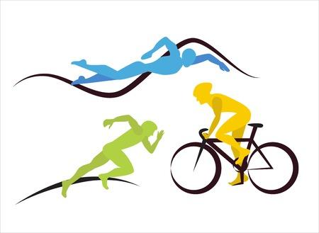 figuras abstractas: Tres atletas de triatlón. Iconos para el triatlón y otros eventos puntuales Vectores