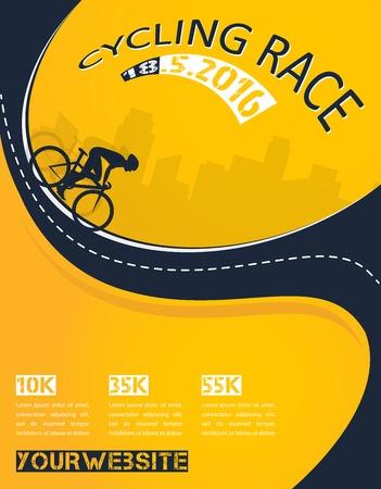 ベクトル自転車レース イベント ポスター デザイン テンプレート