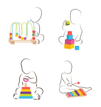 baby development: Children play with educational  toys. baby development icon with different toys