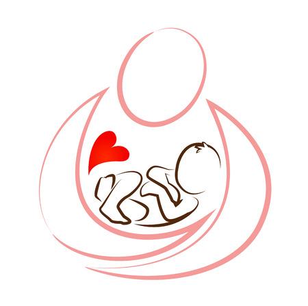 creatief moeder ontwerpconcept kindje pictogram vector
