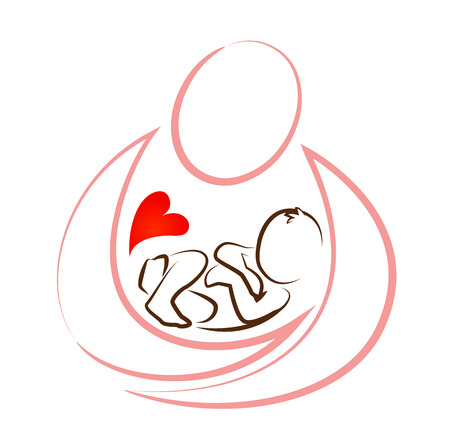 baby mother: creative mother baby icon  design concept vector