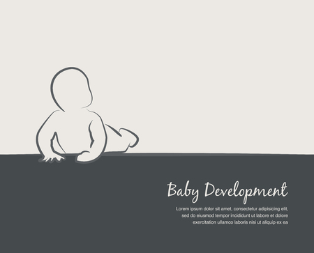 3 6 months: baby development icon, poster  design template with place for your text