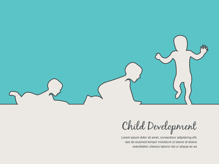 six year old: baby development  icon, child growth stages. toddler milestones of first year Illustration