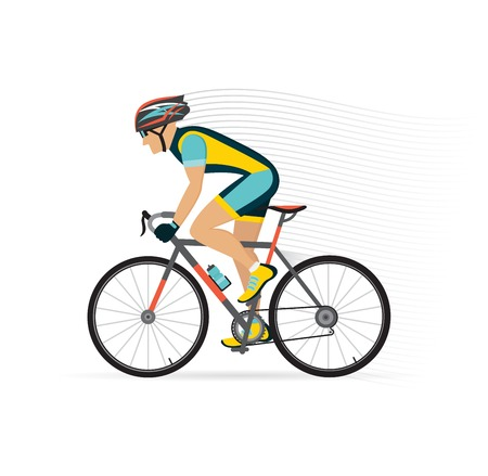 cyclist male on a road bycicle.  vector illustration.
