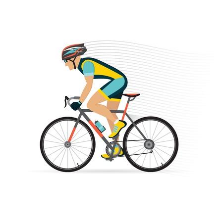 macho ciclista en una bicicleta de ruta. ilustración vectorial.