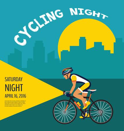 cycling nocy plakatu. Rowerzysta na rowerze przez miasto Ilustracje wektorowe