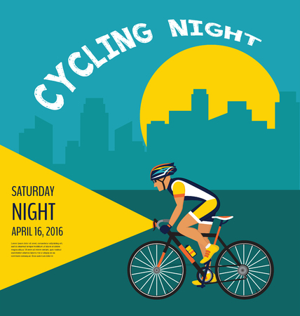 cycling night  poster. cyclist cycling through the city