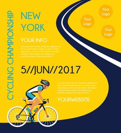 道路サイクリング大会ポスター。カラフルなベクトルの図 写真素材 - 56597977
