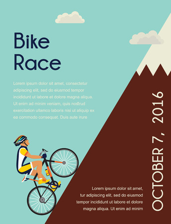 range of motion: cyclist in bicycle racing go  to the mountain. race  competition poster. Vector illustrator.