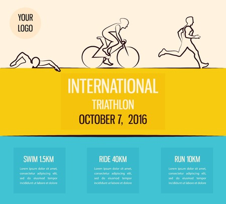Vector illustratie triathlon, plat design. vector illustratie Stock Illustratie