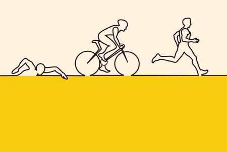 Vector illustratie triathlon, plat design. vector illustratie Stock Illustratie