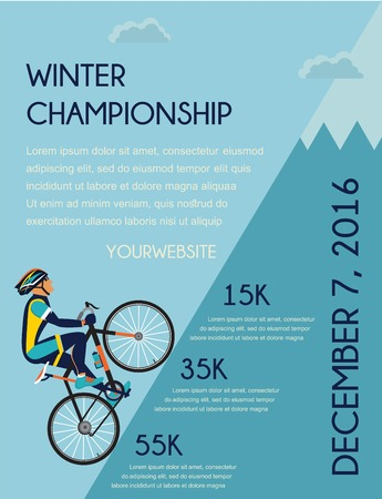 range of motion: cycling competition poster.  cyclist in bicycle racing on the mountain Illustration