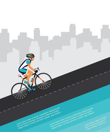 uphill: cycling competition  race poster. cyclist riding through the city