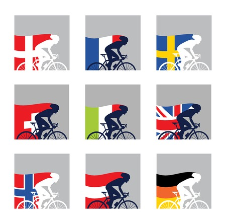 cartoon world: international competition.  European cyclist with their country flags