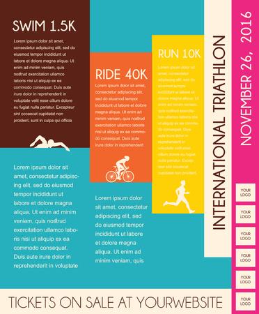 illustration triathlon, flat design.  poster template