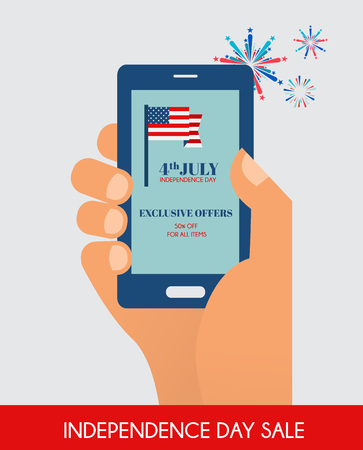 best ad: Fourth of July Exclusive Online Offers Sale. hand holding a phone