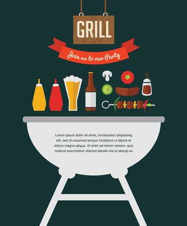 Invito del partito del BBQ. progettato come un hamburger