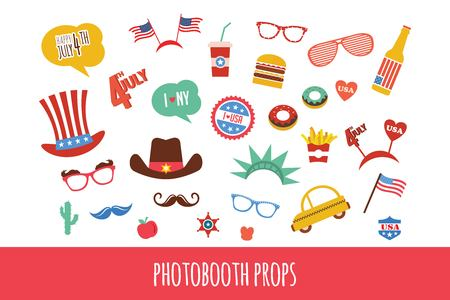 themed: costume props for independence day of America. themed photo booth party. vector illustration