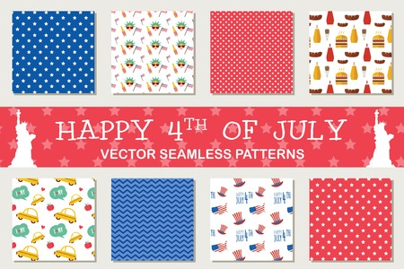 scrapbook: seamless patterns for independence day of America, 4th of July. American symbols. Wrapping paper. Paper for scrapbook. Tiling.
