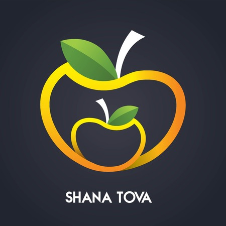 jewish holiday: Happy new year, Shana Tova in Hebrew, Jewish holiday. Apples Icons - Isolated On Black Background - Illustration. illustration