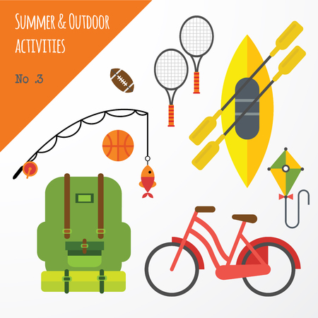 Summer Outdoor Activities Sport Equipment Flat Icons Collection With Tennis Rackets And Bicycle Abstract Isolated Illustration