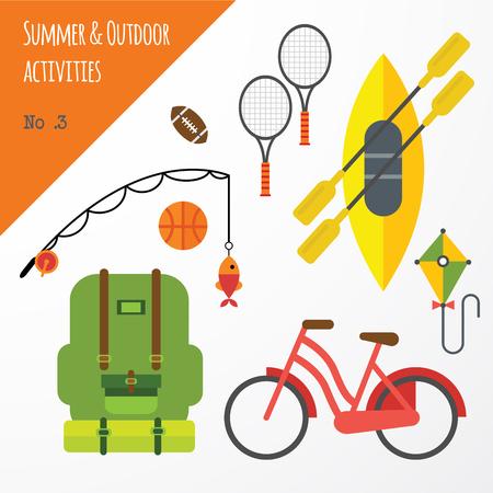 夏季户外活动运动设备平面图标收集与网球拍和自行车抽象孤立的插图
