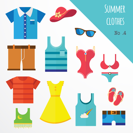 sundress: set of clothes for men and women. Fashion icons. illustration