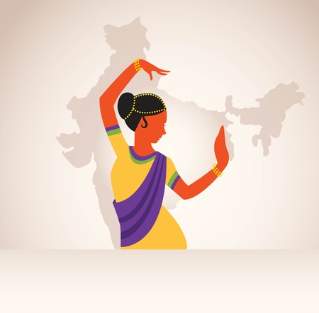 bollywood woman: Indian girl wearing traditional clothing dancing Indian dance. India map background.