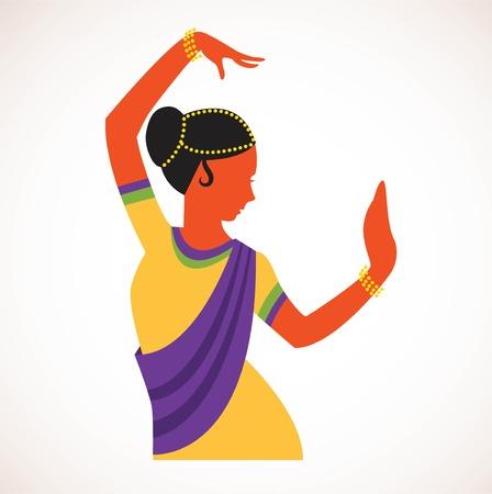 niña india llevaba bailando la ropa tradicional danza de la India