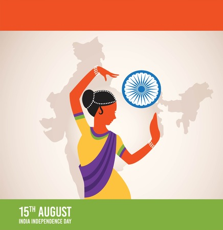 bharatanatyam: illustration of Indian classical dancer creating abstract India flag. illustration