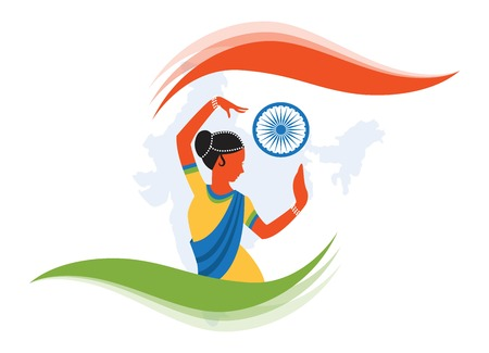ashok: illustration of Indian classical dancer creating abstract India flag. illustration