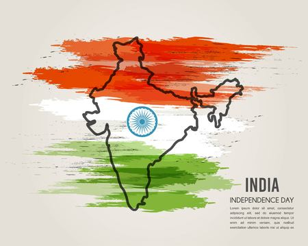 tricolors: India map in national flag tricolors floral Abstract background for India Independence Day. illustration
