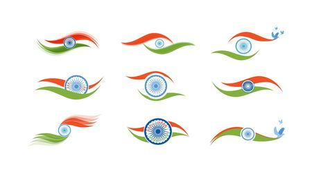 26th: Abstract flag icons for Indian flag Illustration