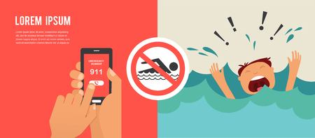 emergency number: drowning man screaming for help. hands press emergency number 911 on a mobile phone. illustration Illustration