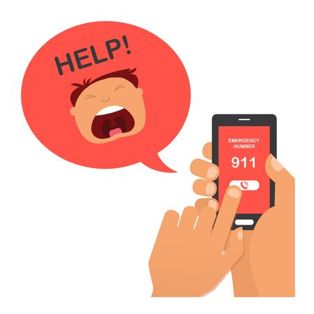 hand press: hand press emergency number 911 on a mobile phone with a man screaming for help.