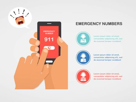 hand press: hand press emergency number 911 on a mobile phone calling for help. vector illustration Illustration