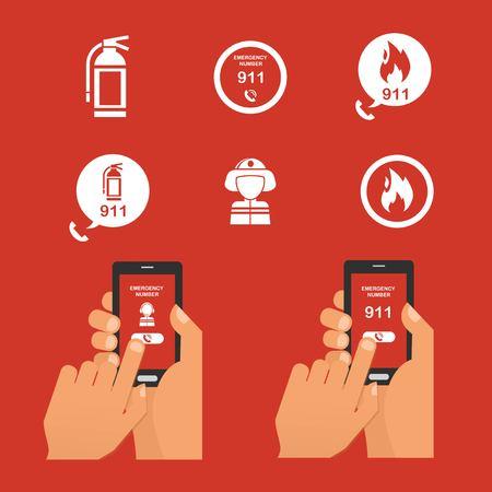 alerta: alarma de incendio de emergencia a través del teléfono. Conjunto de fuego Icono de emergencia. ilustración vectorial