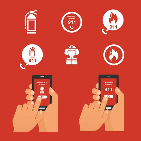 alert: Emergency fire alert via telephone. Set of Fire Emergency Icon. vector illustration Illustration