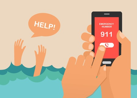 phone hand: drowning man screaming for help. hands press emergency number 911 on a mobile phone. vector illustration