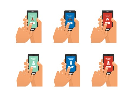 smartphone hand: Mobile emergency call with hand hand holding smartphone. vector illustration