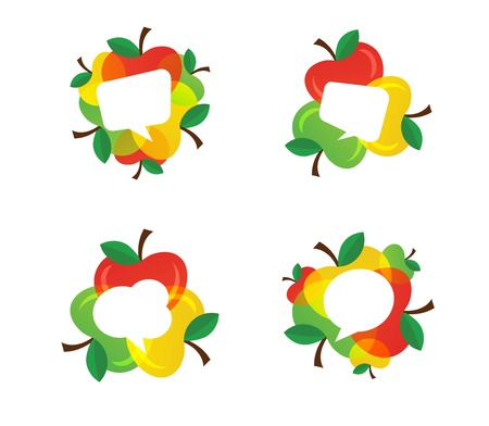 Apples and Healthy Fruit design with modern style with speech bubbles.vector illustration Illustration