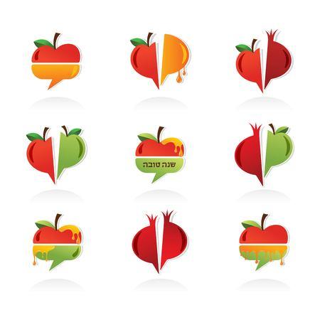 tova: set of abstract icons for Rosh Hashanah. Jewish holiday. apple, pomegranate and honey
