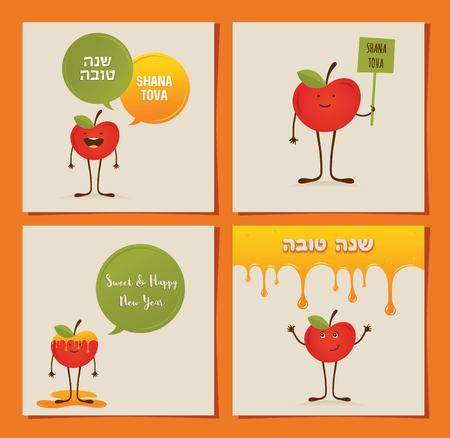 yom kippur: Hipster apple and pomegranate on a card for rosh hashana, Jewish New Year. happy new year in Hebrew. illustration