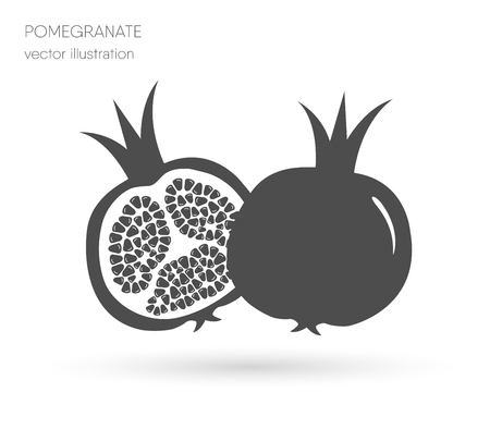 Two juicy ripe pomegranate pomegranates. vector illustration isolated white background.